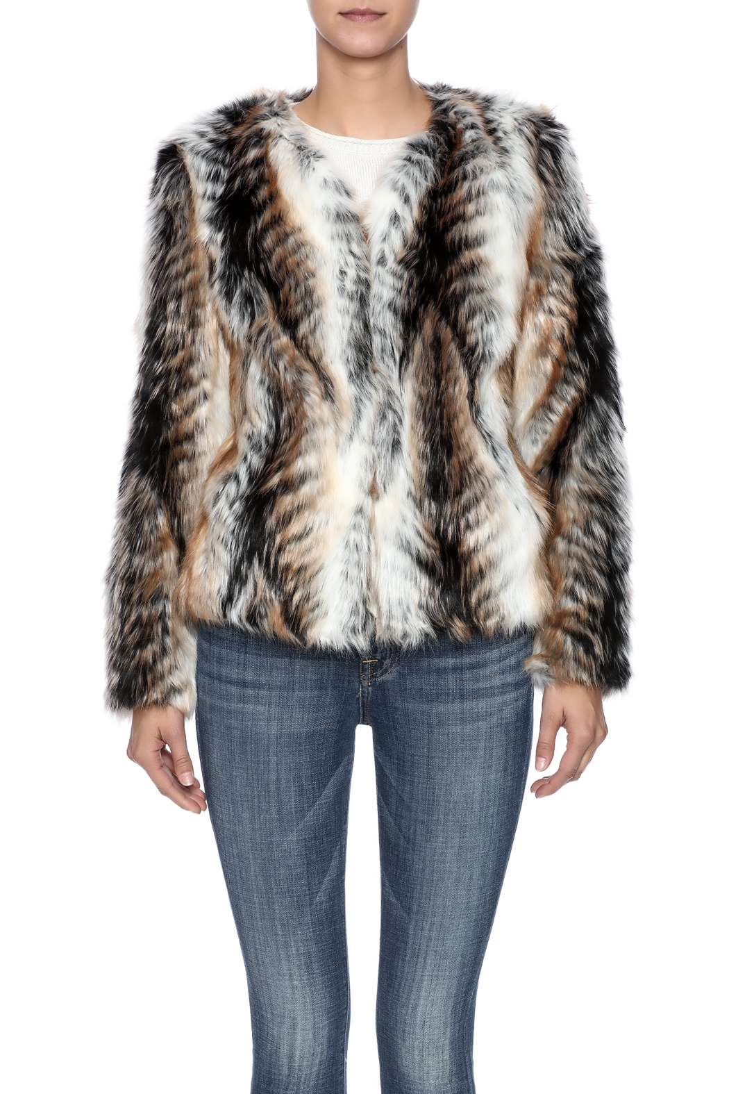 rebecca elliott Tan Faux-Fur Jacket - Side Cropped Image