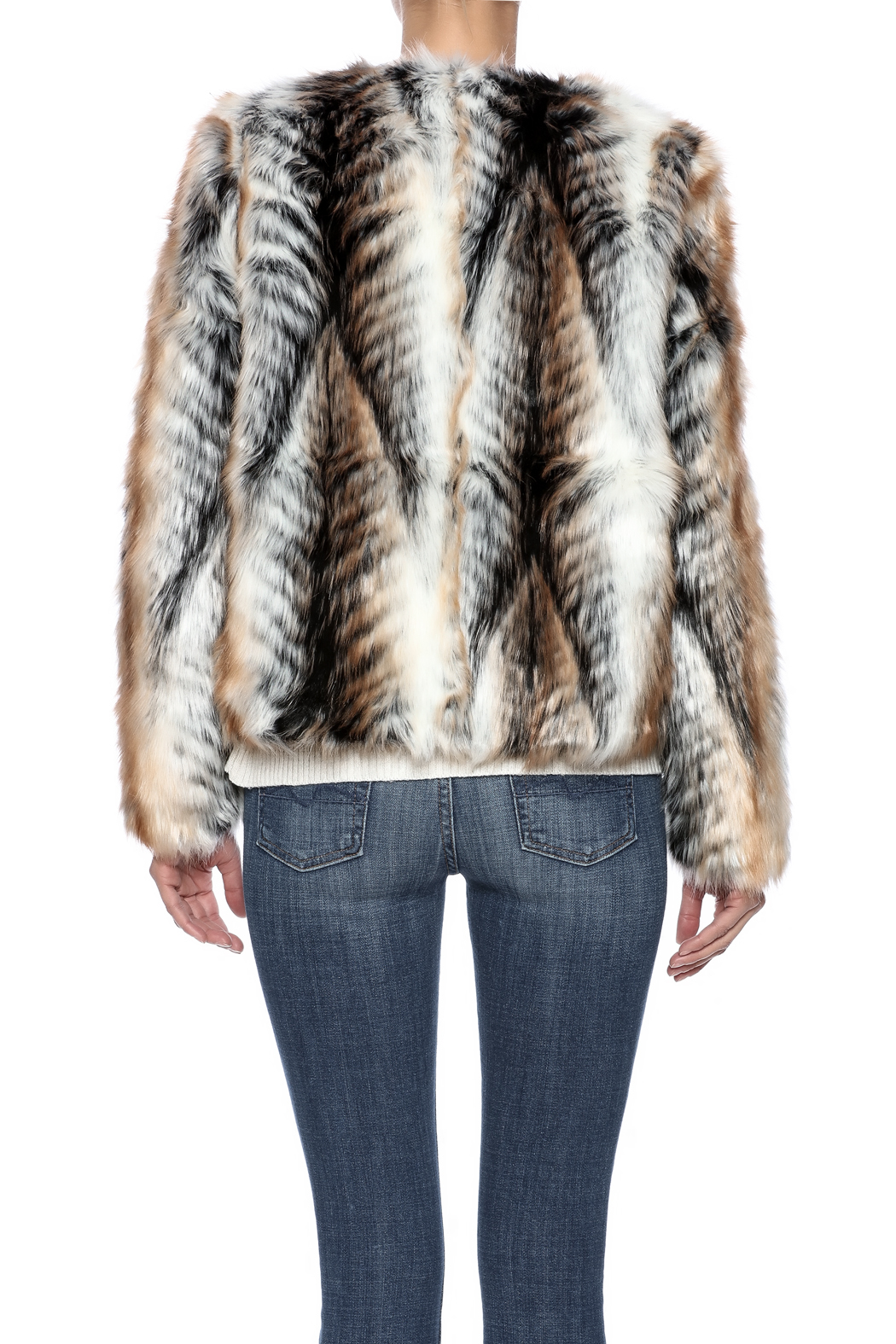 rebecca elliott Tan Faux-Fur Jacket - Back Cropped Image