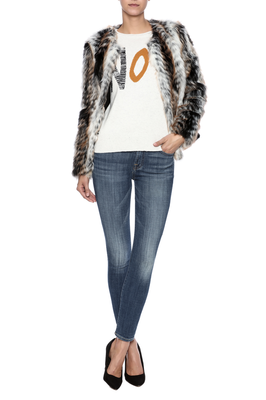 rebecca elliott Tan Faux-Fur Jacket - Front Full Image