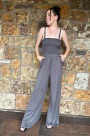 Vava by Joy Hahn Rebecca Smocked Top Jumpsuit - Front cropped