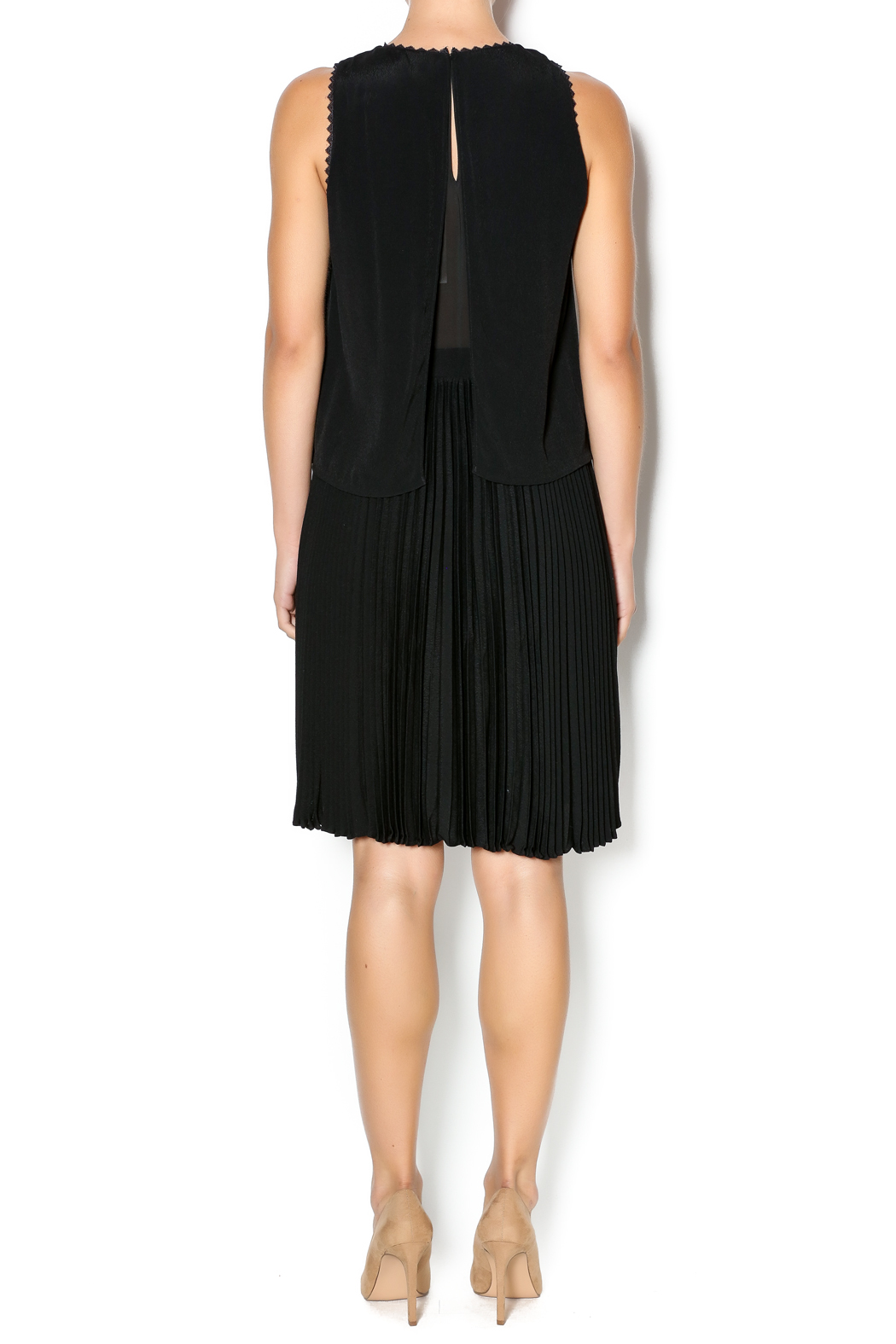 Rebecca Taylor Crepe Pleat Dress - Side Cropped Image