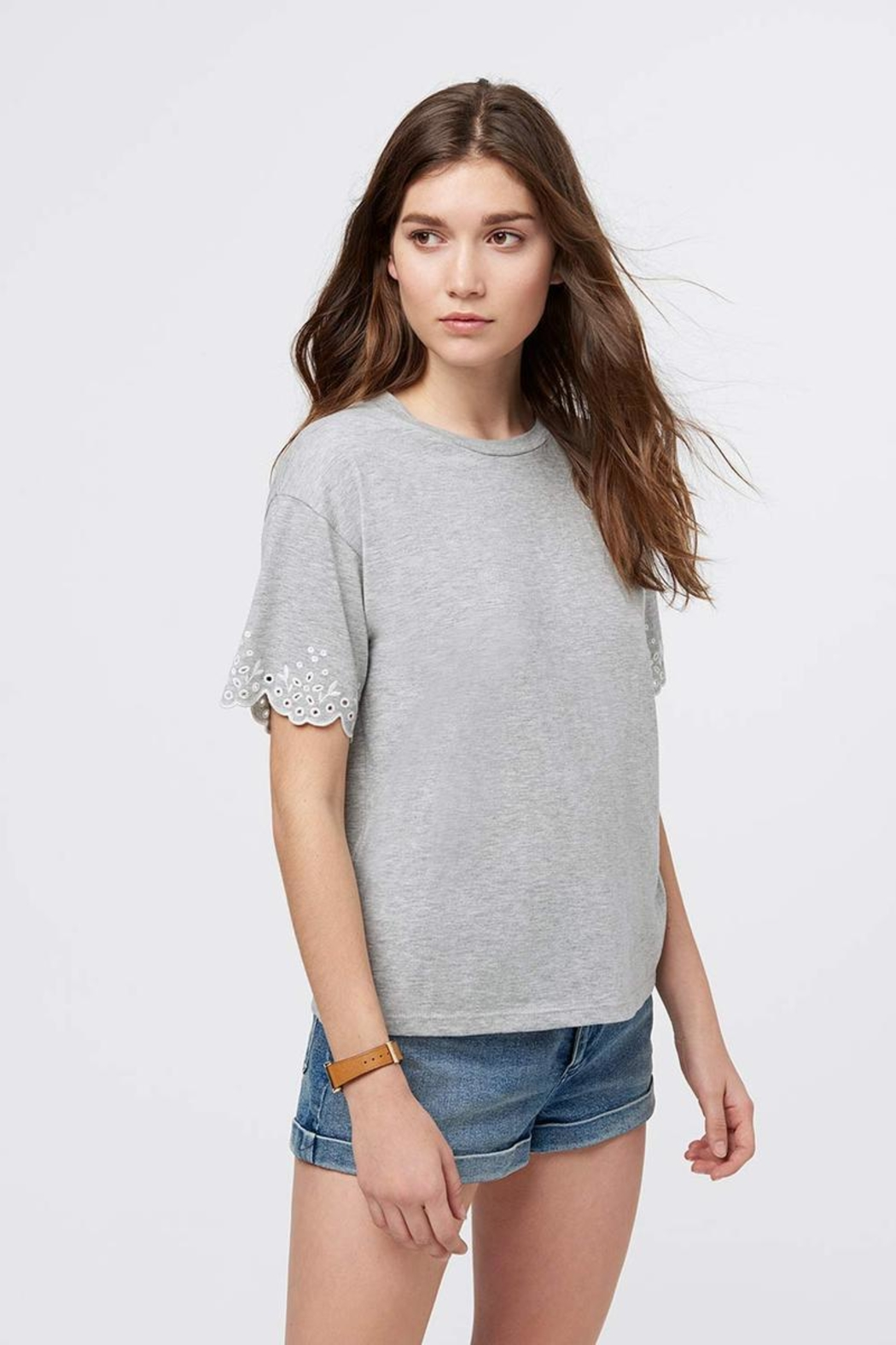 Rebecca Minkoff Eyelet Sleeve Tee - Front Cropped Image