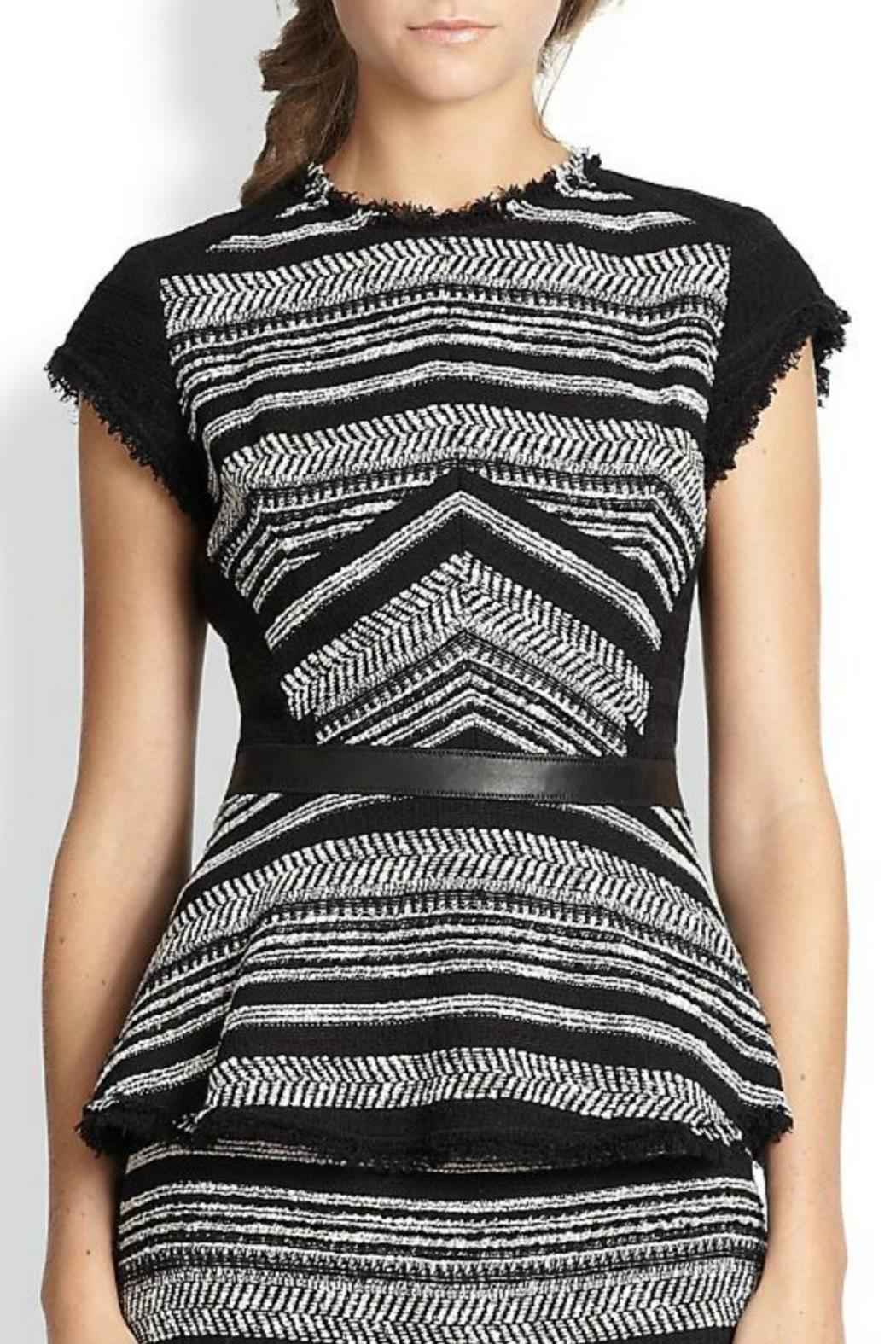 Rebecca Taylor Stripe Tweed Peplum - Front Cropped Image