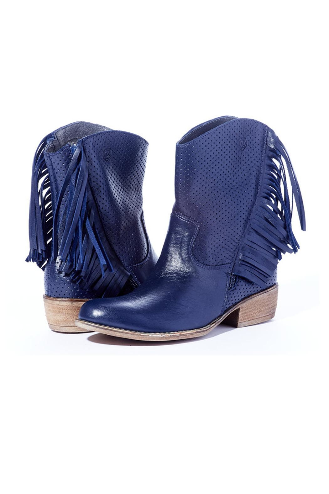 Navy Fringe Boot