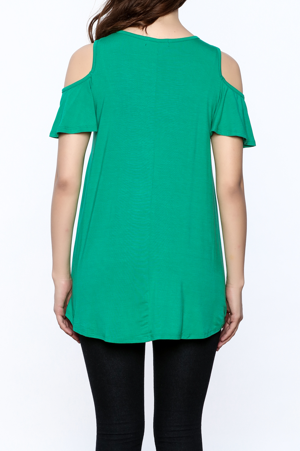 Reborn J Green Tunic Top - Back Cropped Image