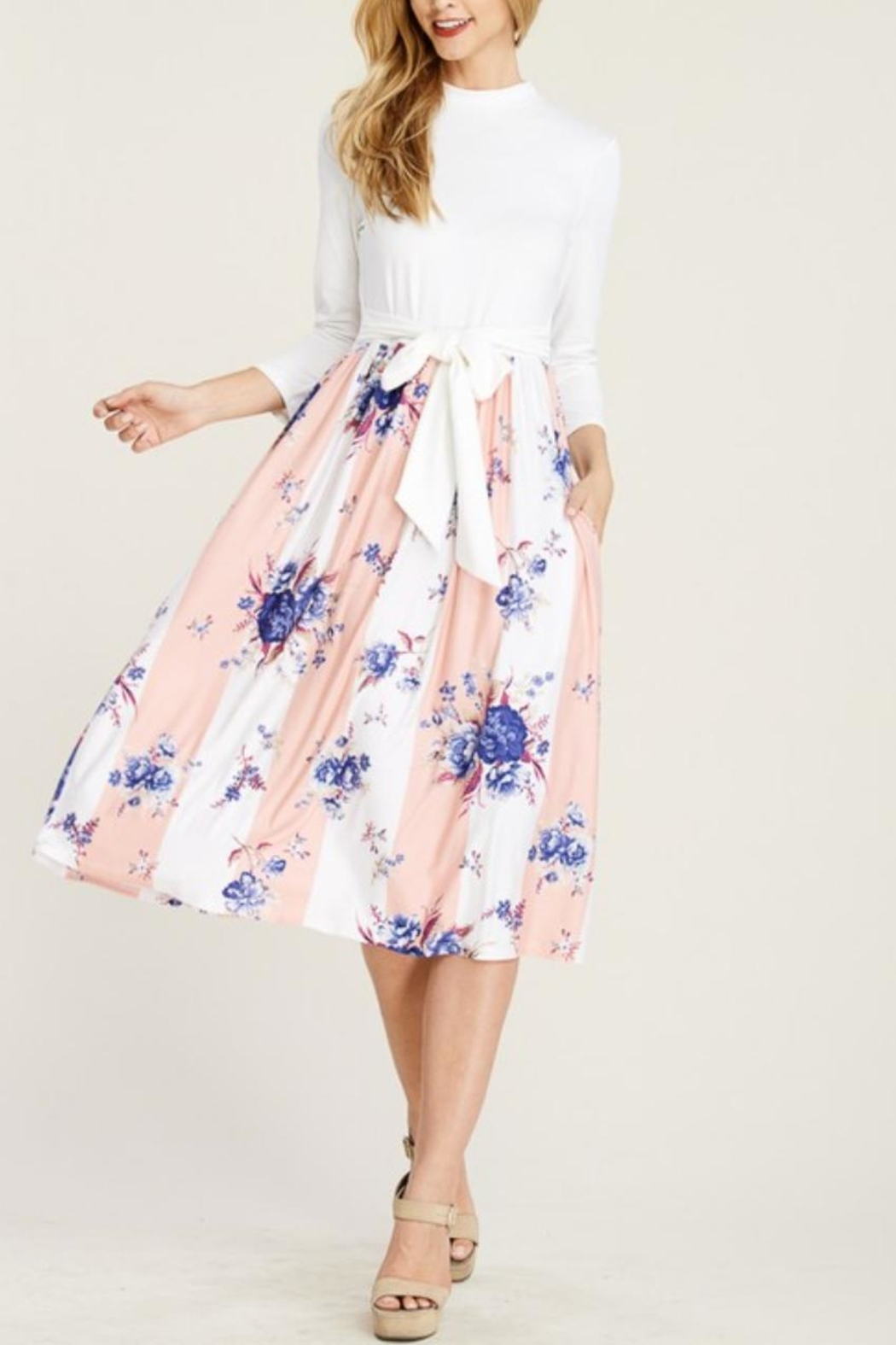 Reborn J Two-Tone Floral Dress - Front Cropped Image