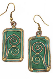 Anju Handcrafted Artisan Jewelry RECT GREN/GOLD ER - Product Mini Image
