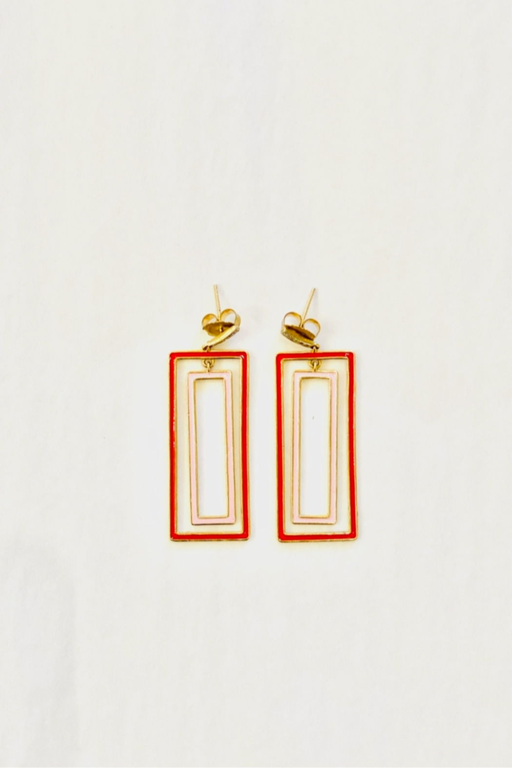 The Woods Fine Jewelry  Rectangle Pink Earrings - Front Full Image