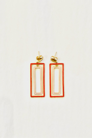 The Woods Fine Jewelry  Rectangle Pink Earrings - Front full body