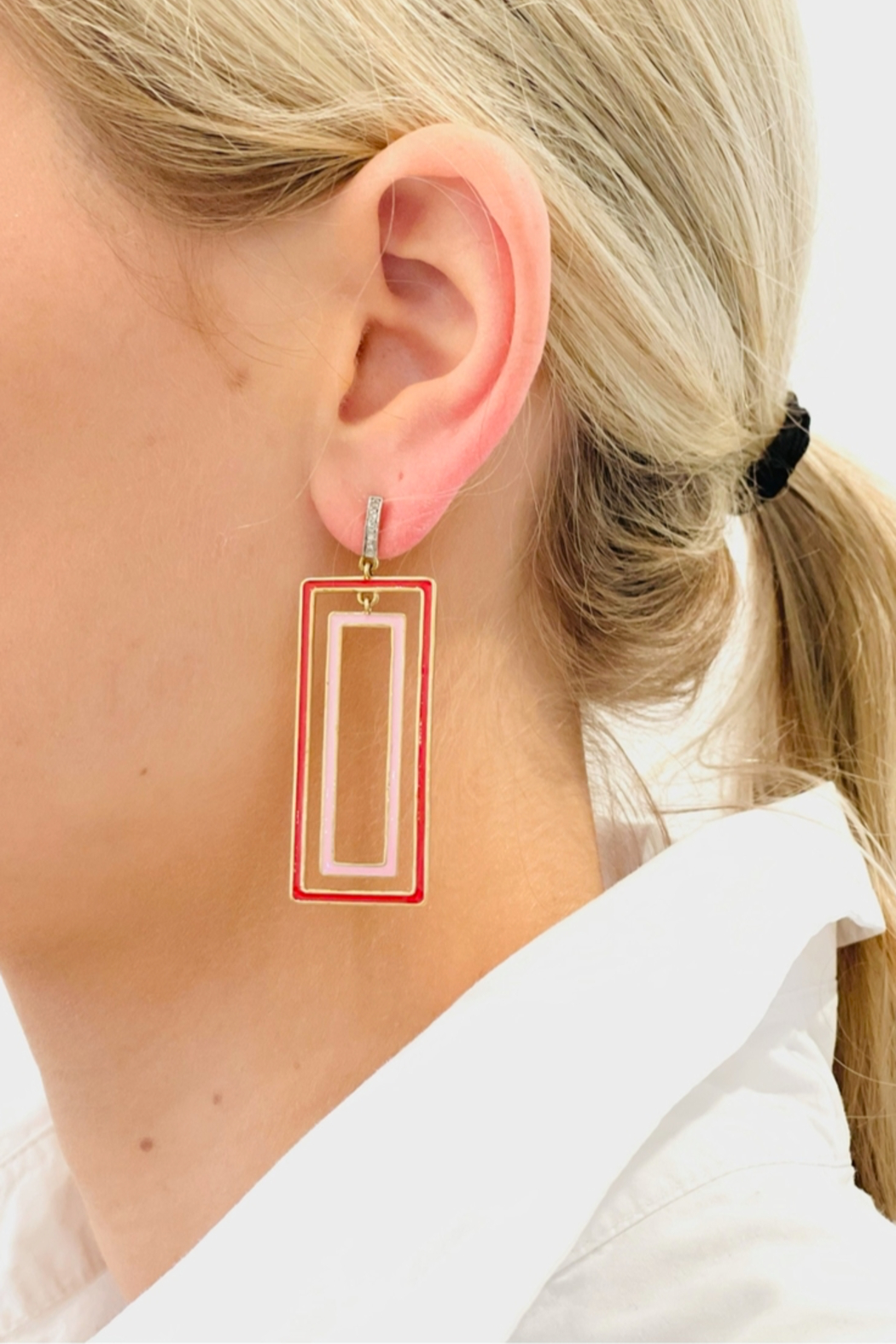 The Woods Fine Jewelry  Rectangle Pink Earrings - Main Image