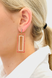 The Woods Fine Jewelry  Rectangle Pink Earrings - Front cropped