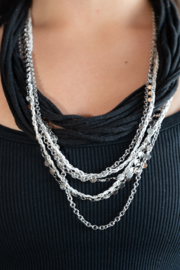 Handmade by CA artist Recycled T-Shirt with Chains, Multi-Strand Necklace - Product Mini Image