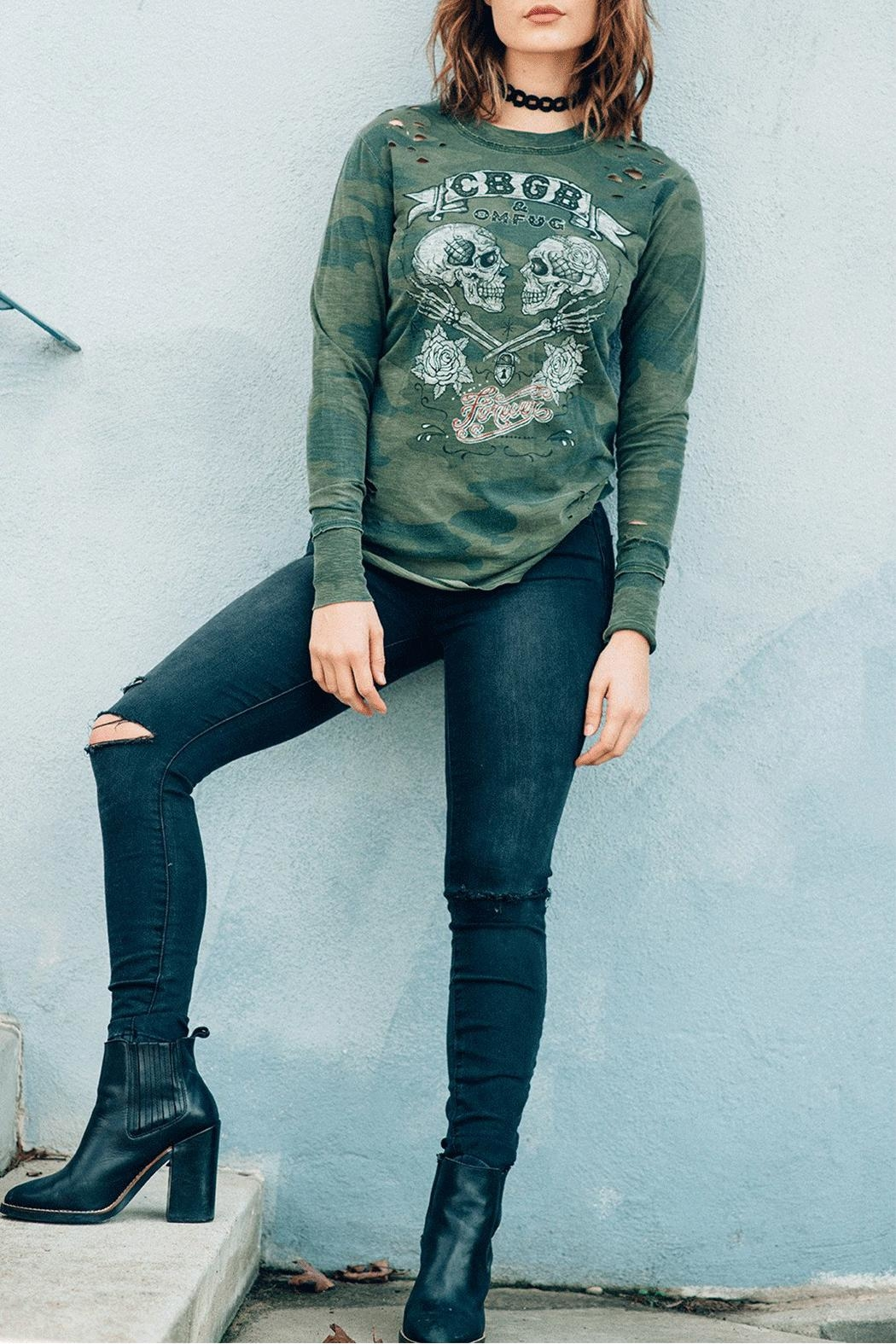 Recycled Karma Cbgb Camo T-Shirt - Front Full Image