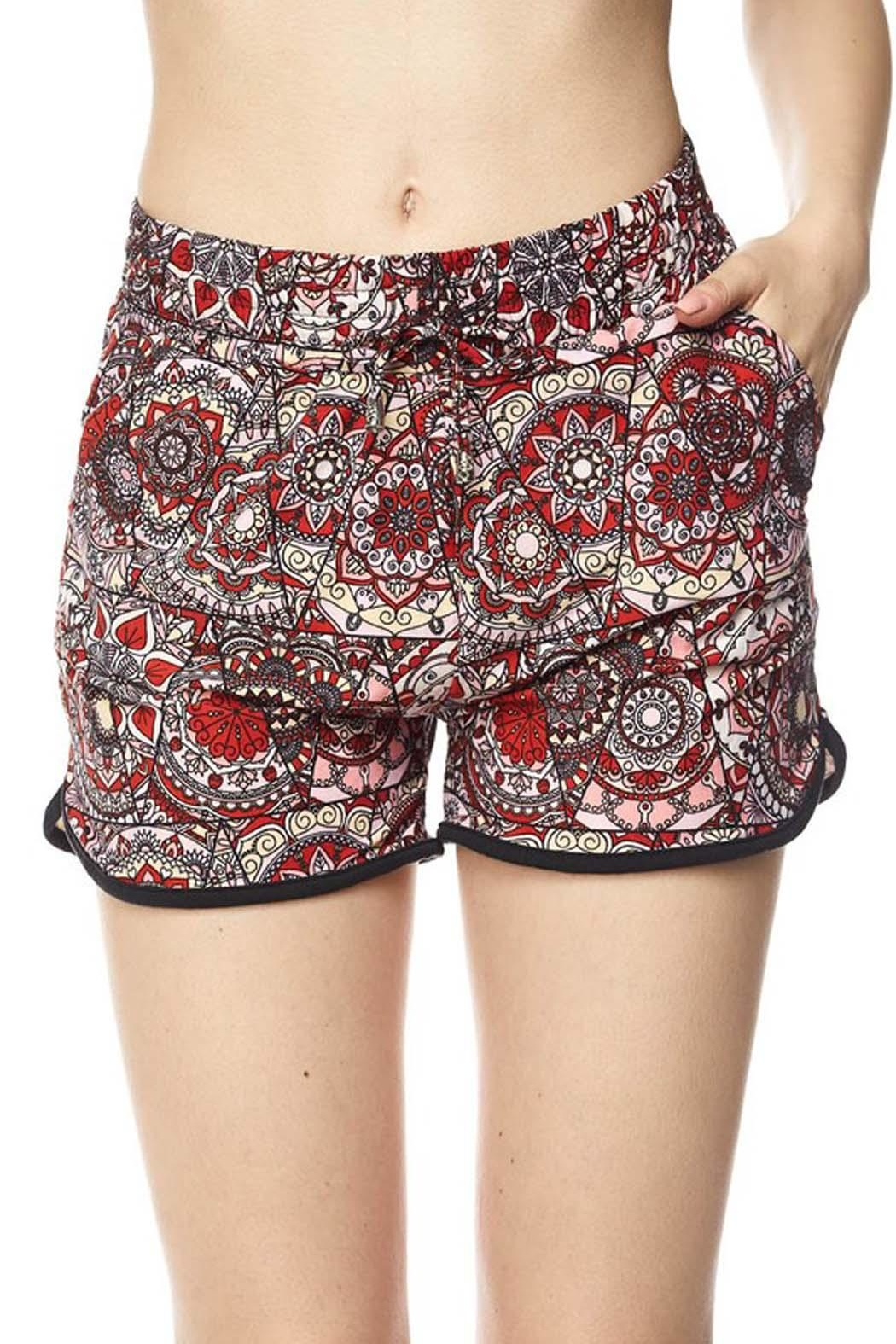 New Mix Red Abstract Shorts - Front Cropped Image