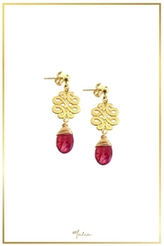 Malia Jewelry Red-Agate Charm Earrings - Front cropped