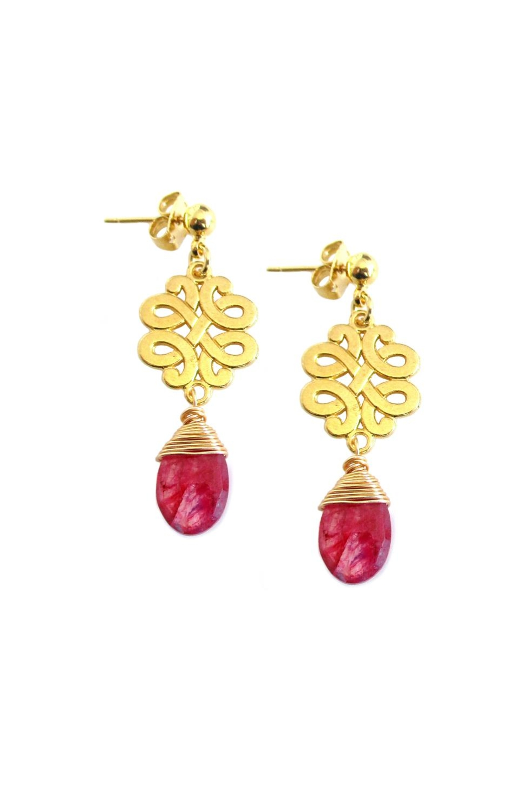 Malia Jewelry Red-Agate Charm Earrings - Main Image