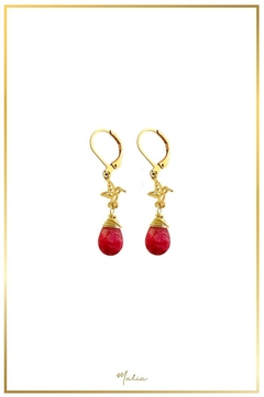 Shoptiques Product: Red-Agate Hummingbird Earrings