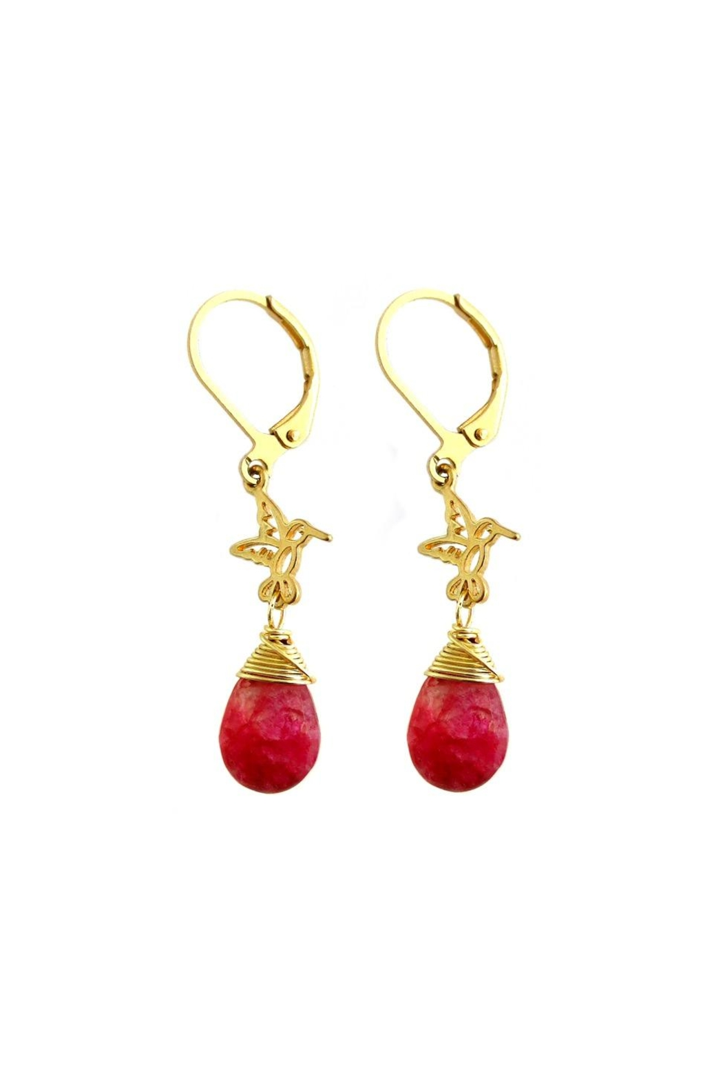 Malia Jewelry Red-Agate Hummingbird Earrings - Front Cropped Image