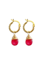Malia Jewelry Red-Agate Textured Hoops - Product Mini Image