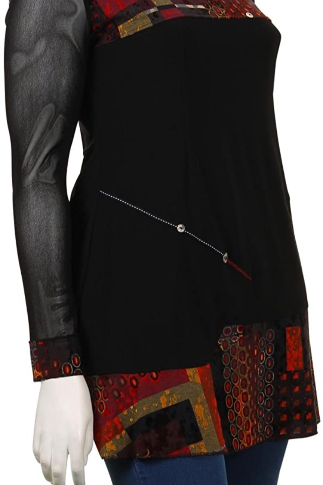 Joseph Ribkoff Red and black tunic top - Front Full Image