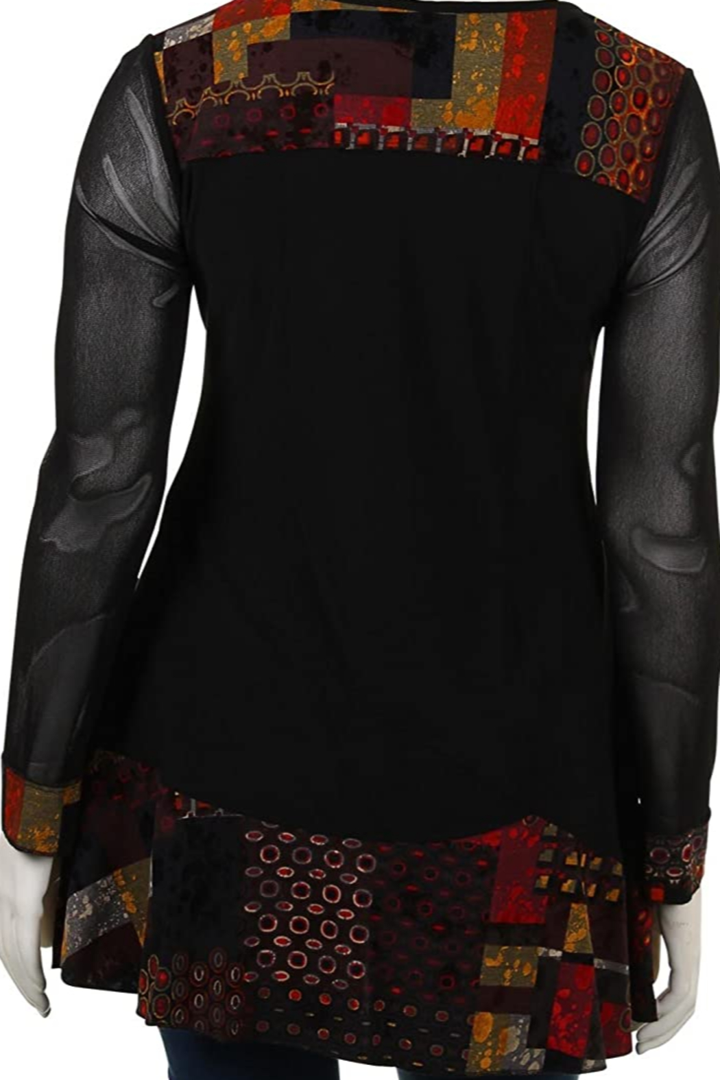Joseph Ribkoff Red and black tunic top - Side Cropped Image