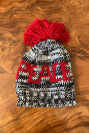 tesoro  Red and Grey Knit Peace Beanie - Front cropped