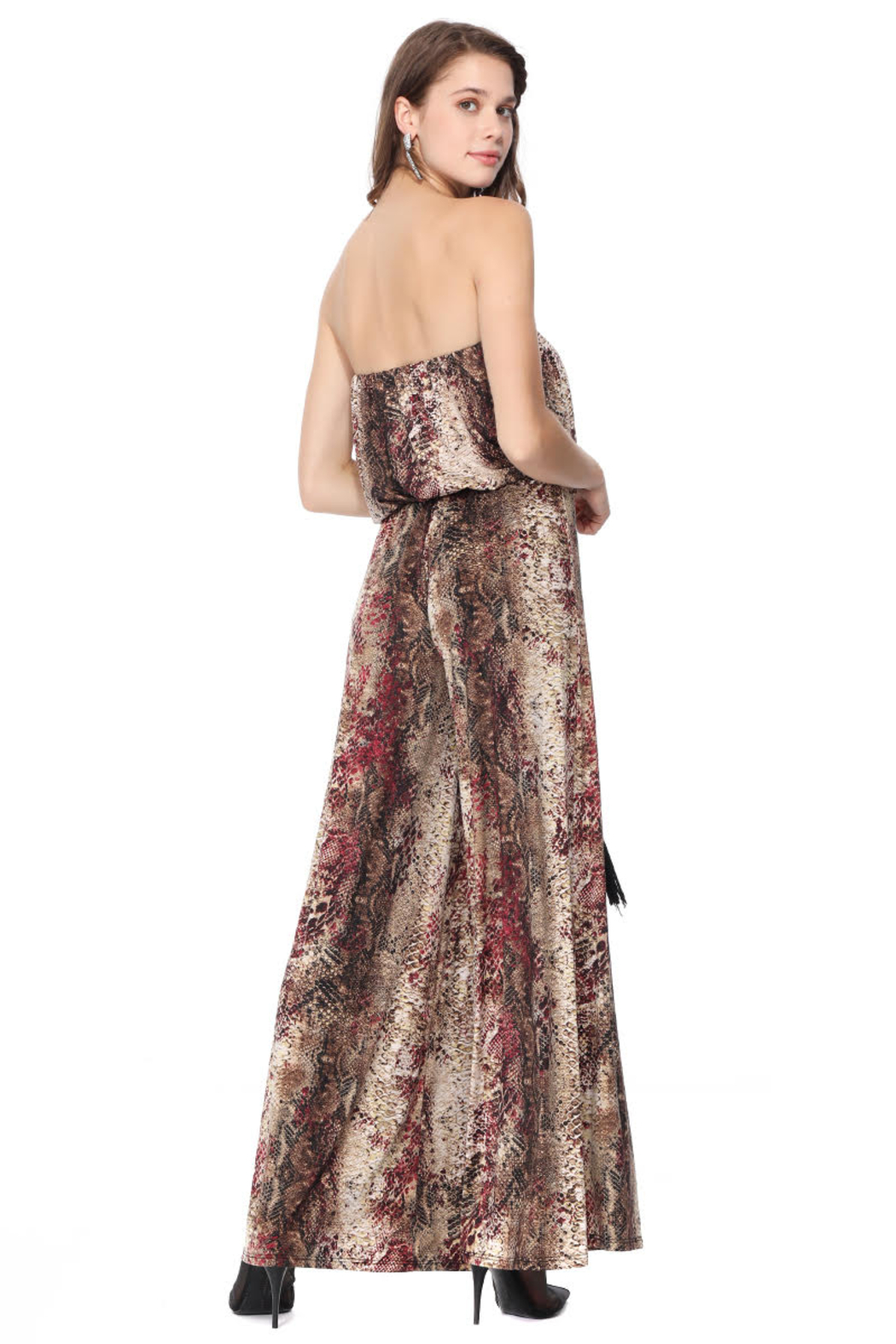 Ariella USA Red Animal Print Strapless Jumpsuit w Rope Belt - Side Cropped Image