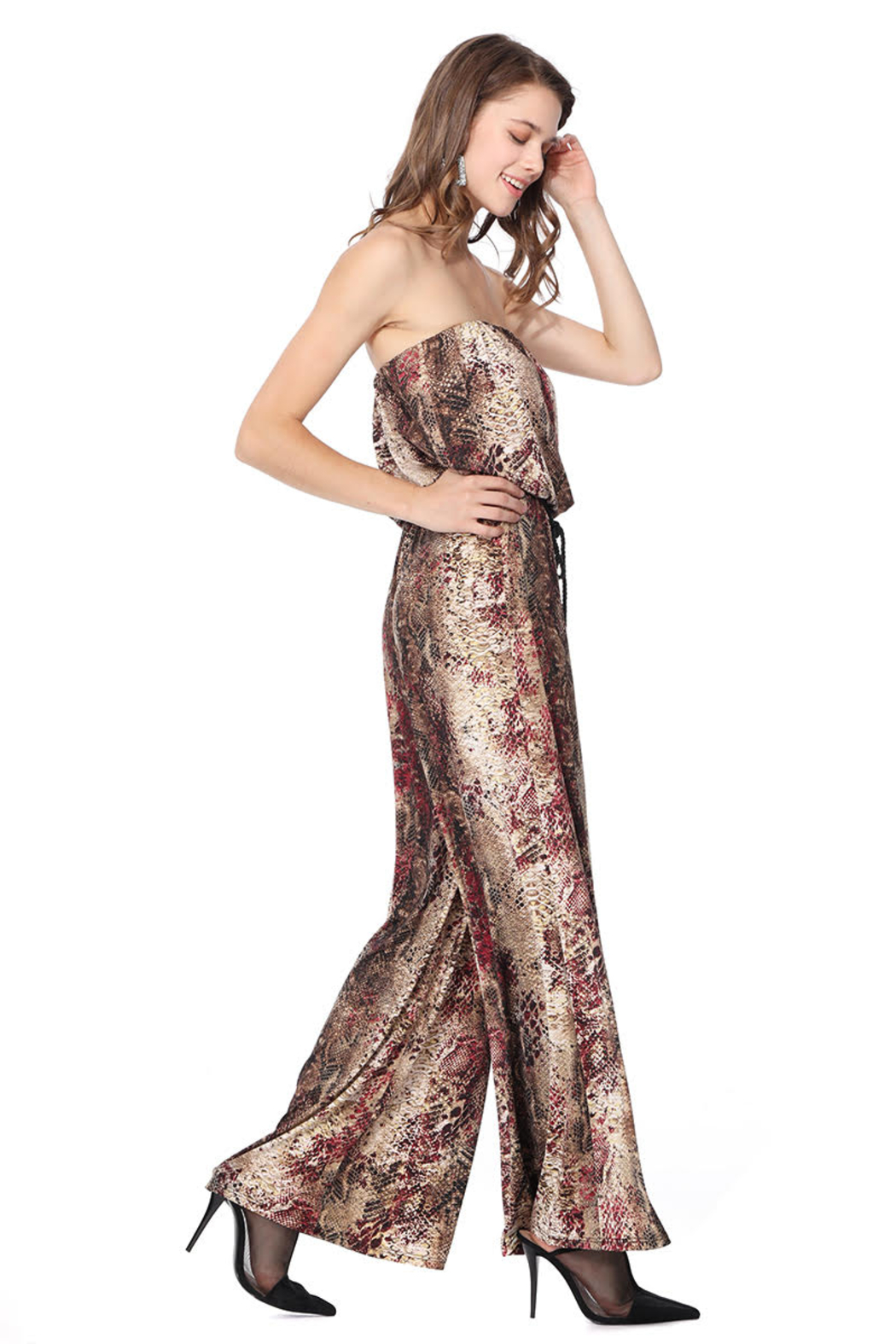 Ariella USA Red Animal Print Strapless Jumpsuit w Rope Belt - Front Full Image