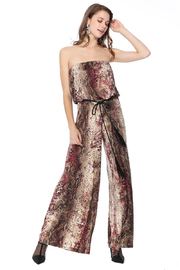 Ariella USA Red Animal Print Strapless Jumpsuit w Rope Belt - Front cropped