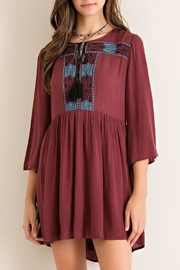 Entro Red-Bean Embroidered Tunic - Product Mini Image