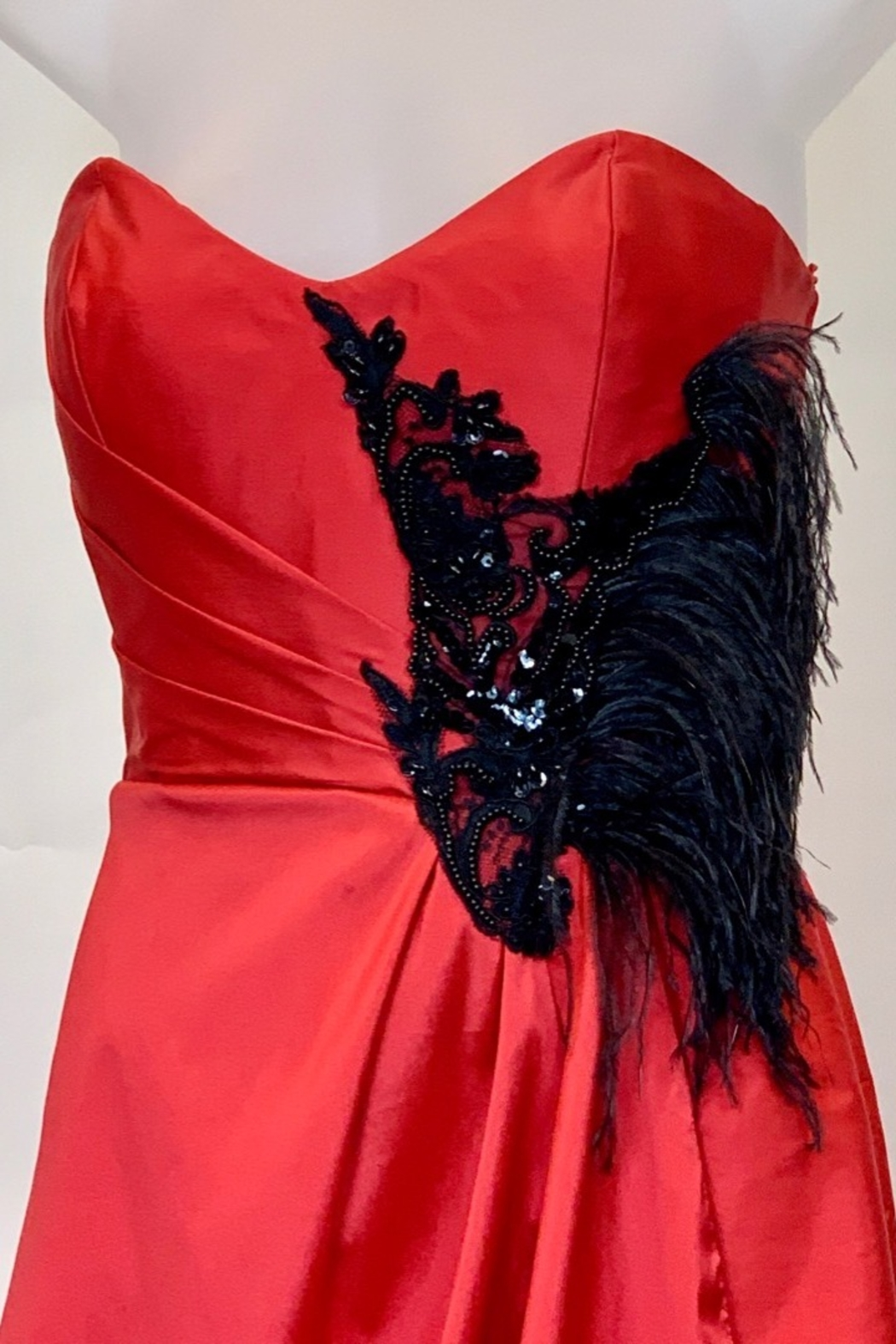 JUAN CARLOS PINERA RED & BLACK FEATHER GOWN - Front Full Image