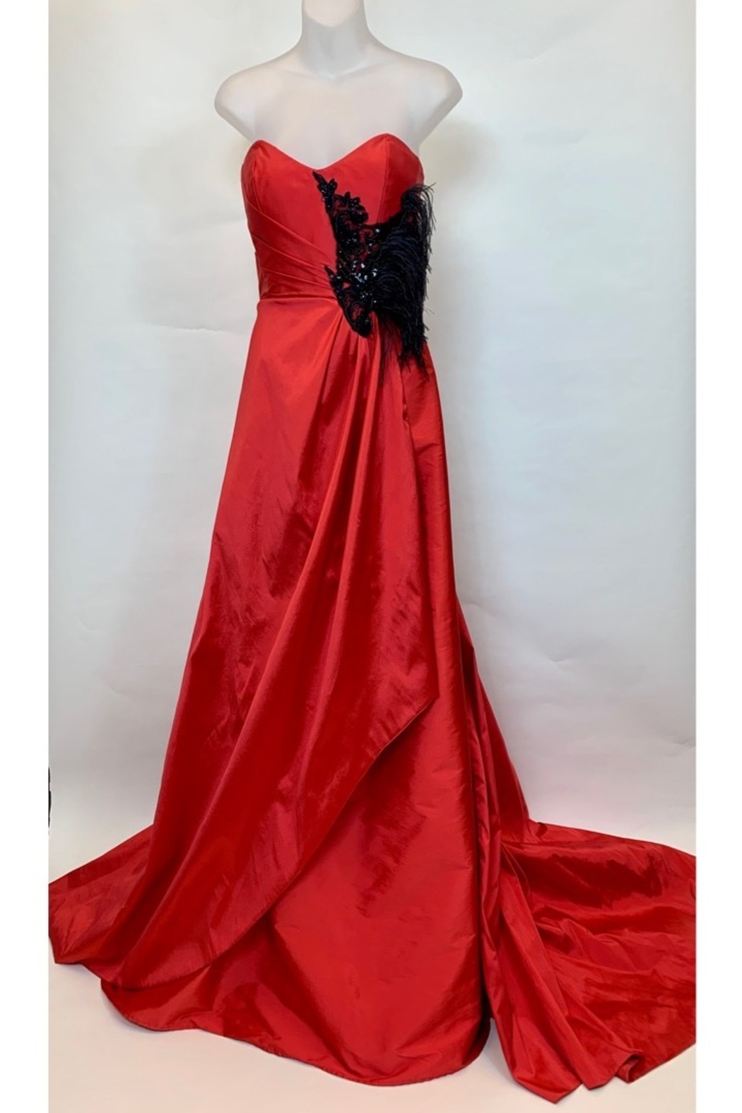 JUAN CARLOS PINERA RED & BLACK FEATHER GOWN - Main Image