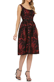 Kay Unger Red/Blk Print Dress - Product Mini Image