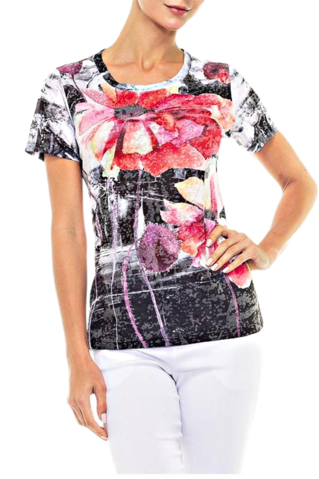 Alison Sheri Red Bloom Tee - Front Cropped Image