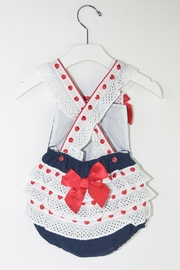 Dolce Petit Red & Blue Romper - Front full body