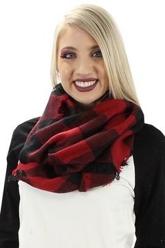 0-105 Red Buffalo Plaid Scarf - Alternate List Image