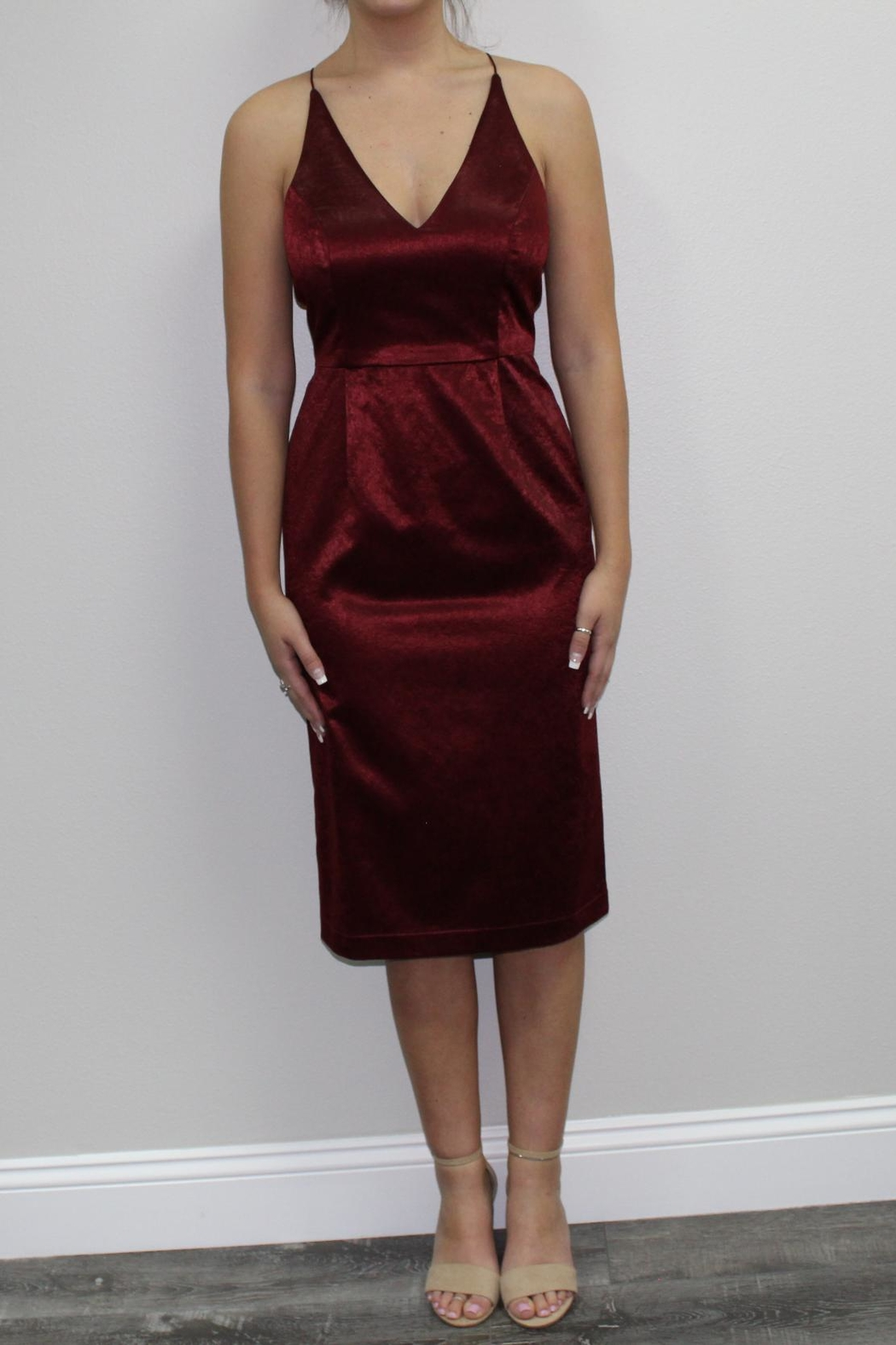 Black Swan Red Burgundy Dress - Front Cropped Image