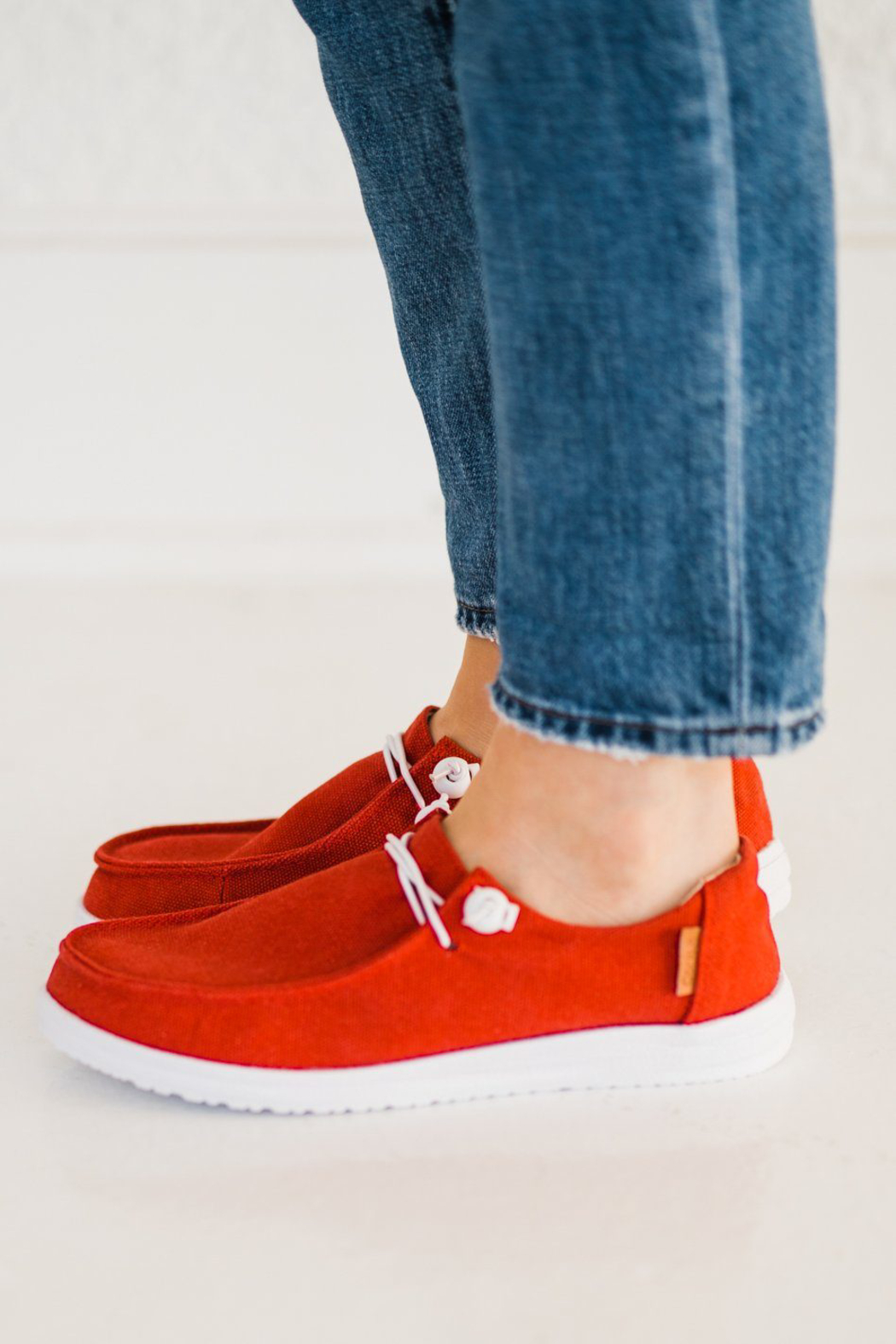 Corkys  Red Canvas Slip On Sneaker - Front Full Image