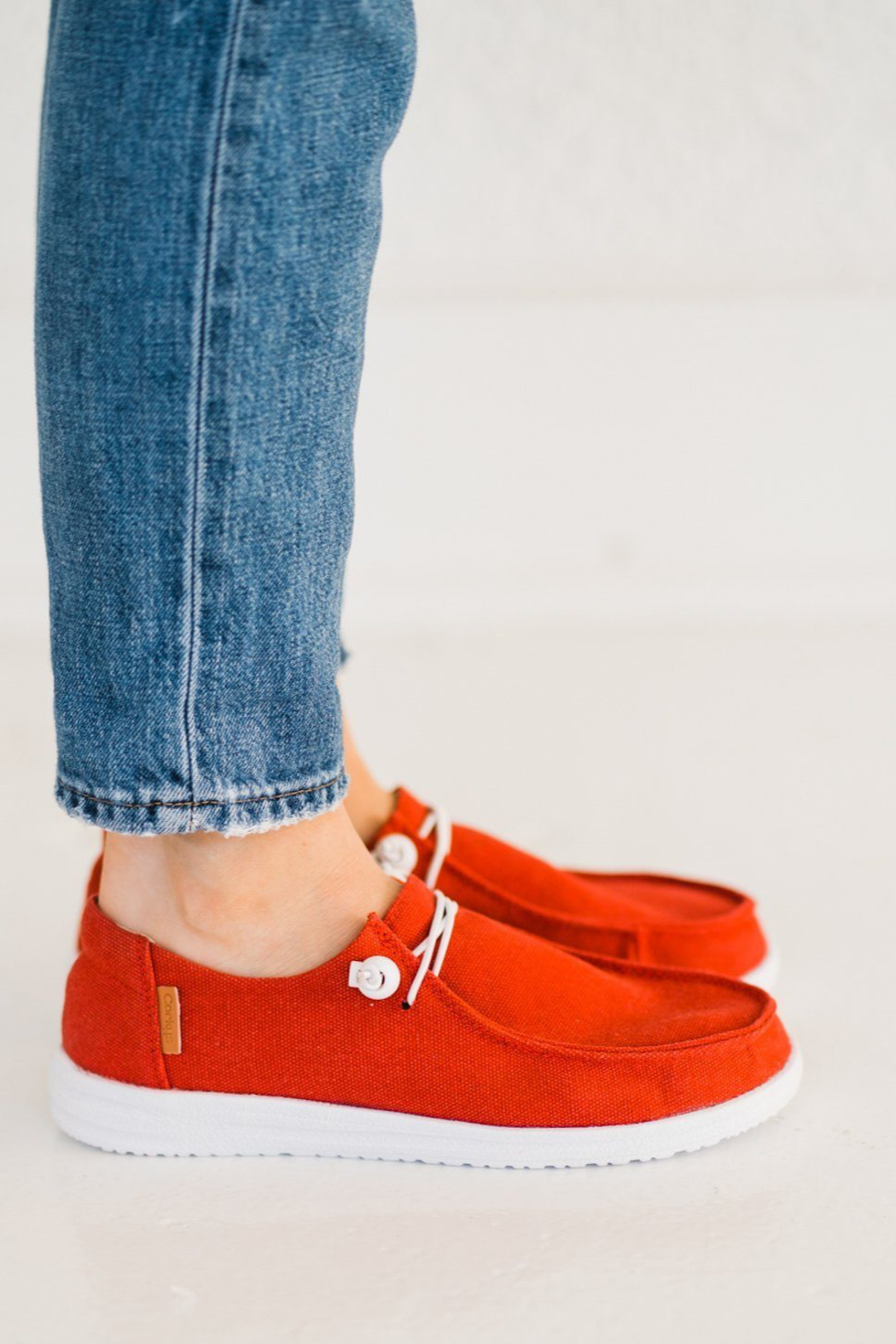 Corkys  Red Canvas Slip On Sneaker - Side Cropped Image