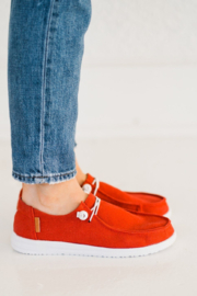 Corkys  Red Canvas Slip On Sneaker - Side cropped