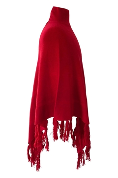 Venezia Cashmere Red Cashmere Poncho - Alternate List Image
