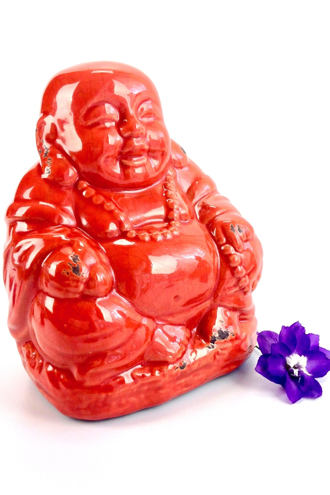 GHome2 Red Ceramic Buddha - Front Cropped Image