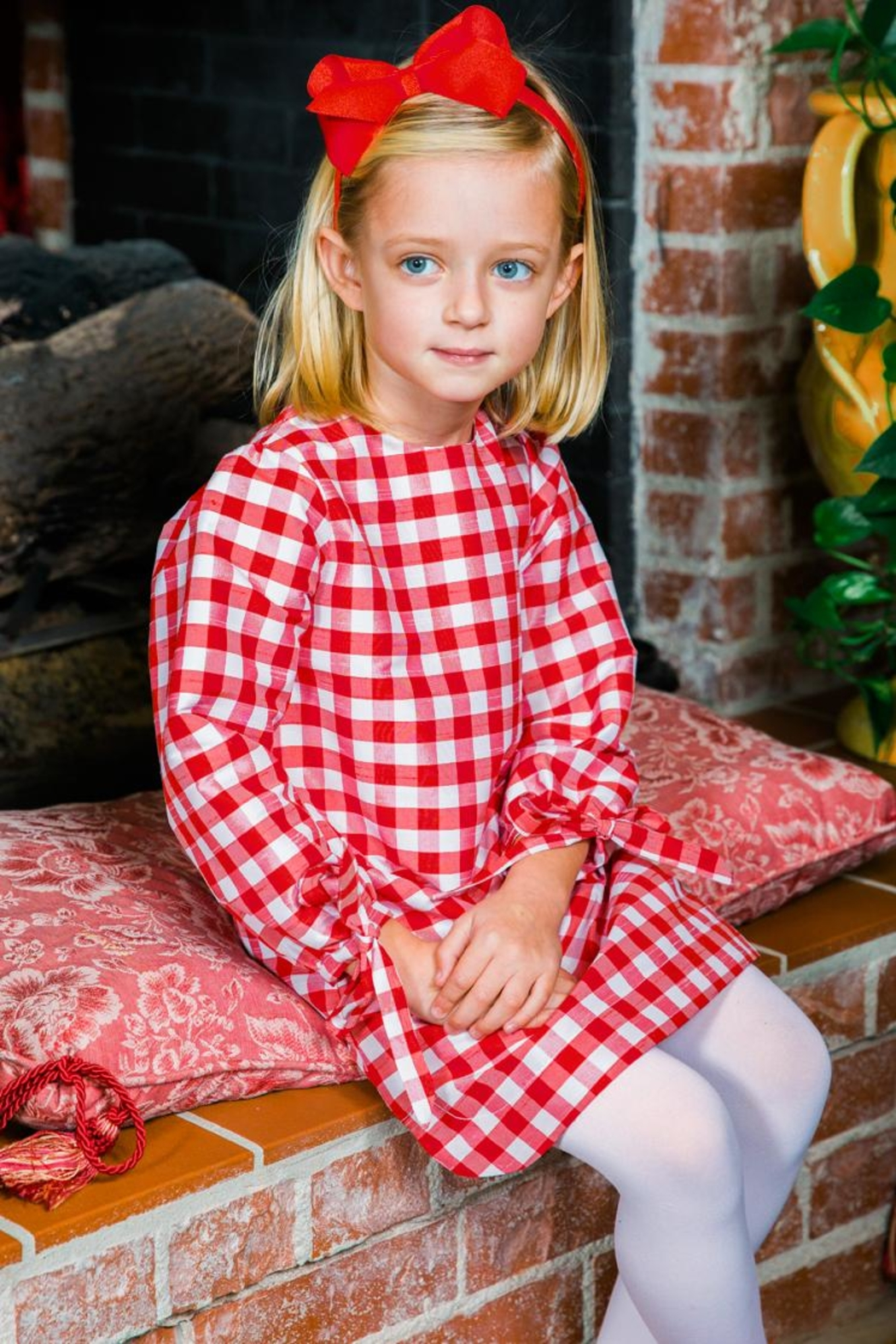 Bailey Boys Red-Check Raw-Silk Tunic/dress - Front Cropped Image