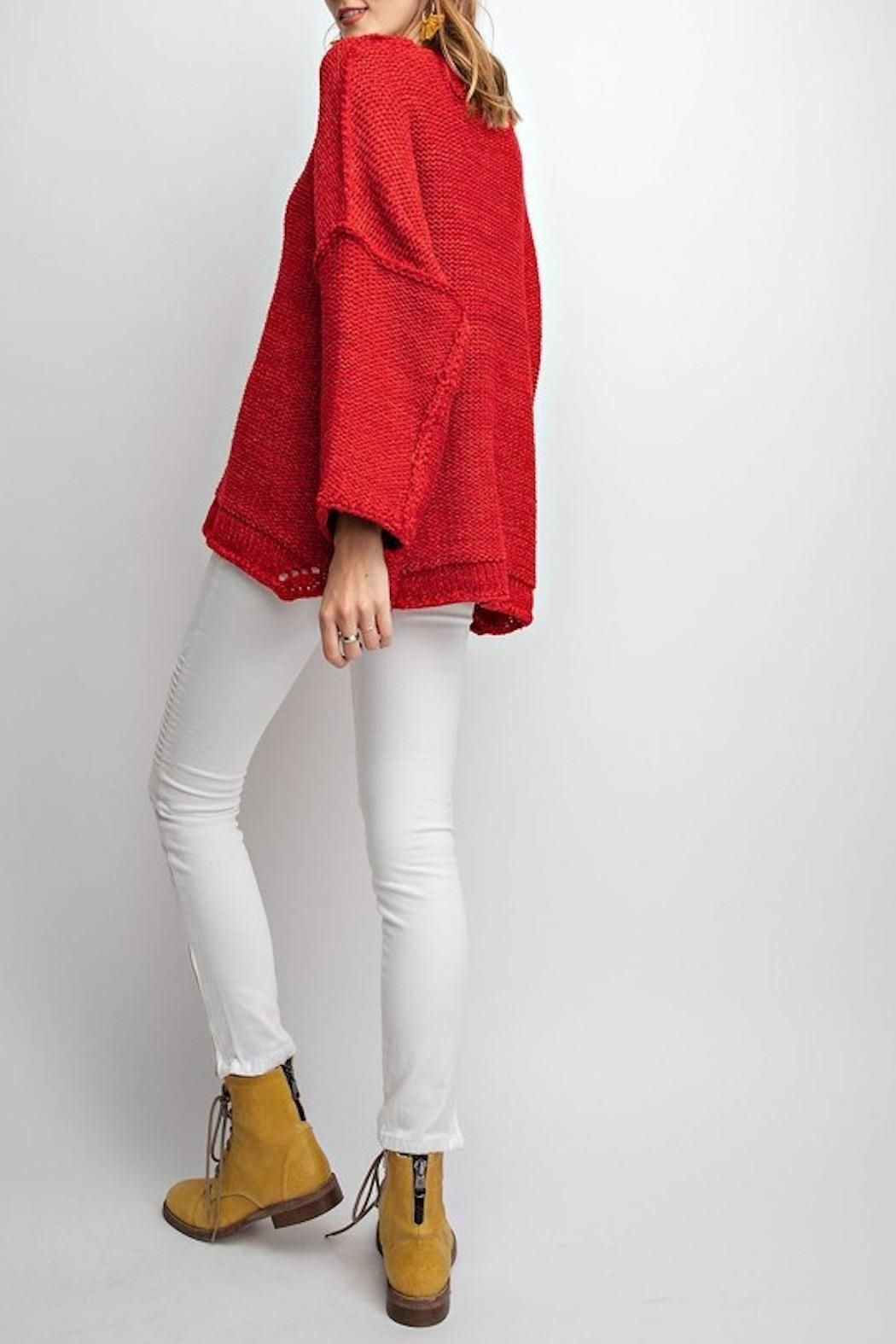easel Red Chunky Sweater - Side Cropped Image