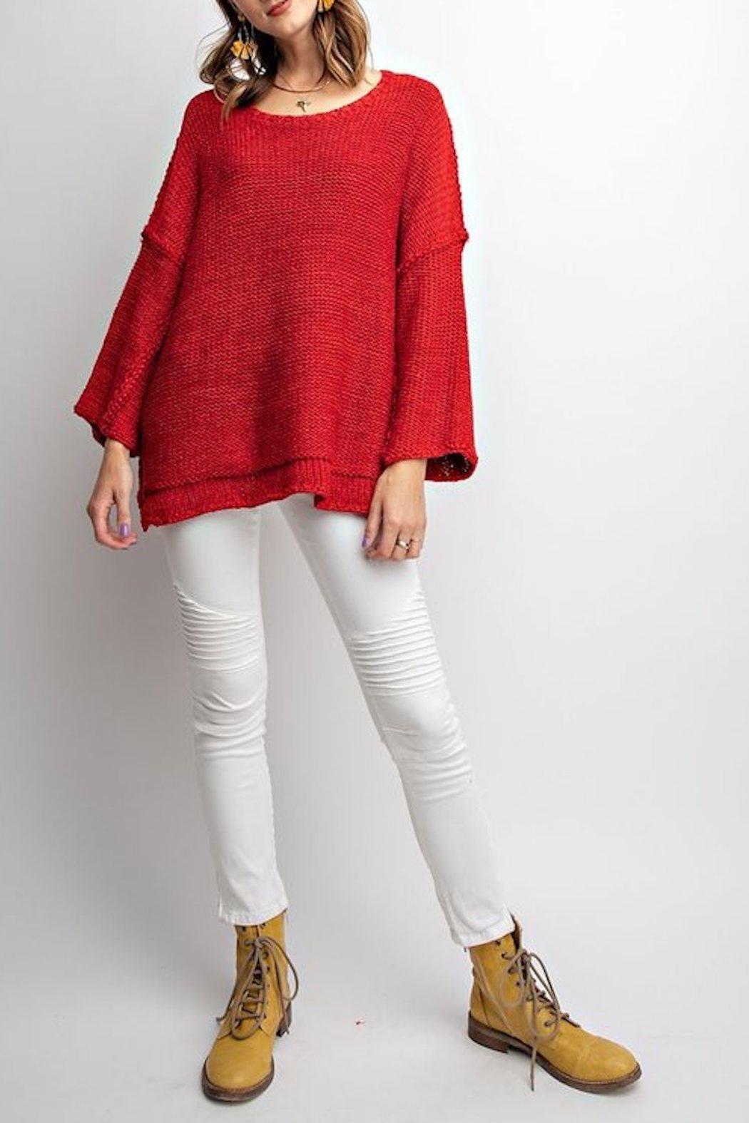 easel Red Chunky Sweater - Main Image