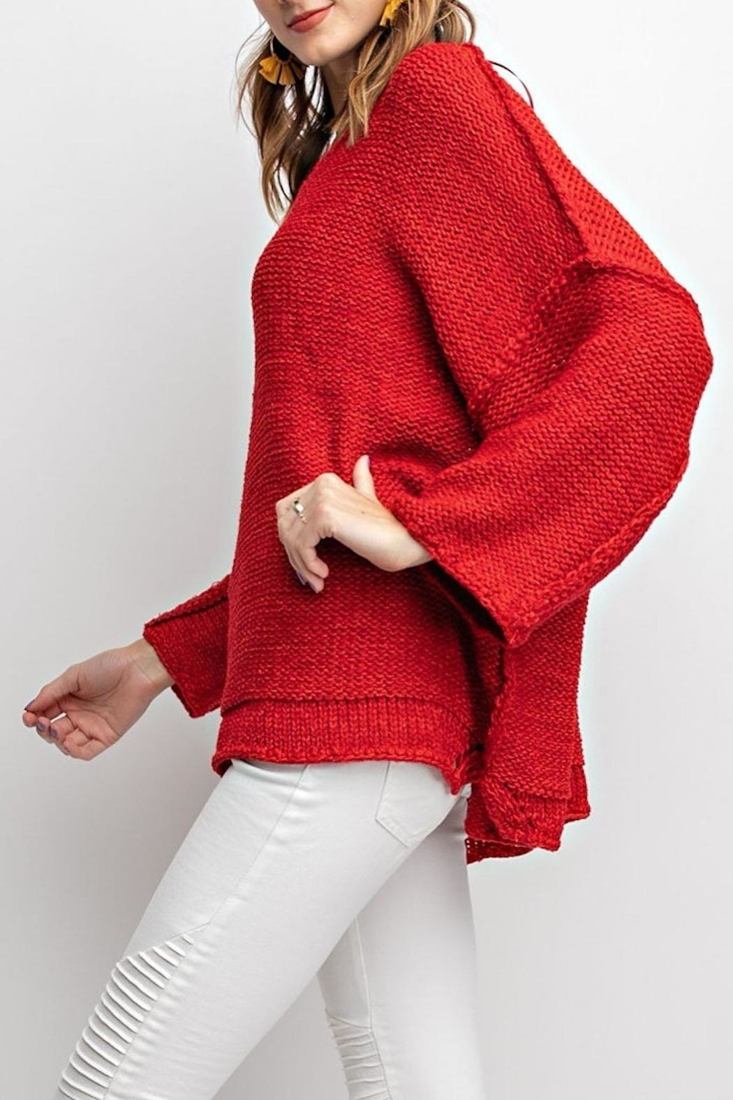 easel Red Chunky Sweater - Front Full Image
