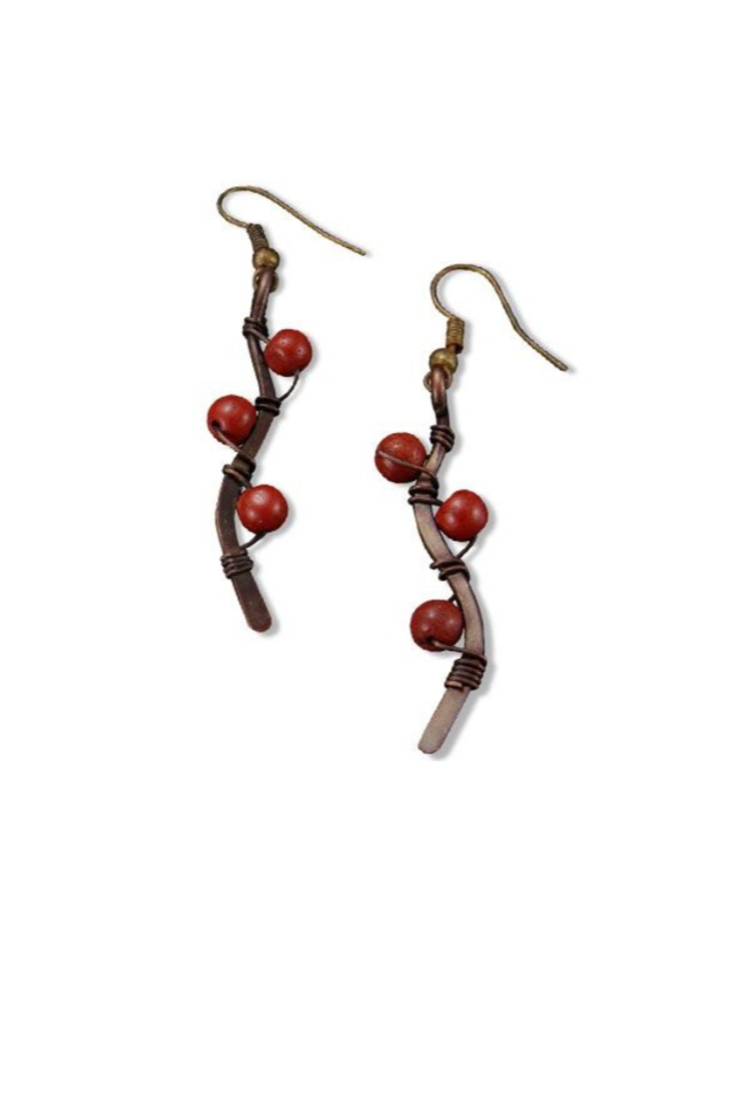 Anju Handcrafted Artisan Jewelry Red Coral Copper Vine Earrings - Main Image