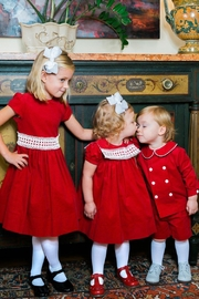 Bailey Boys Red Corduroy/lace Dress - Back cropped