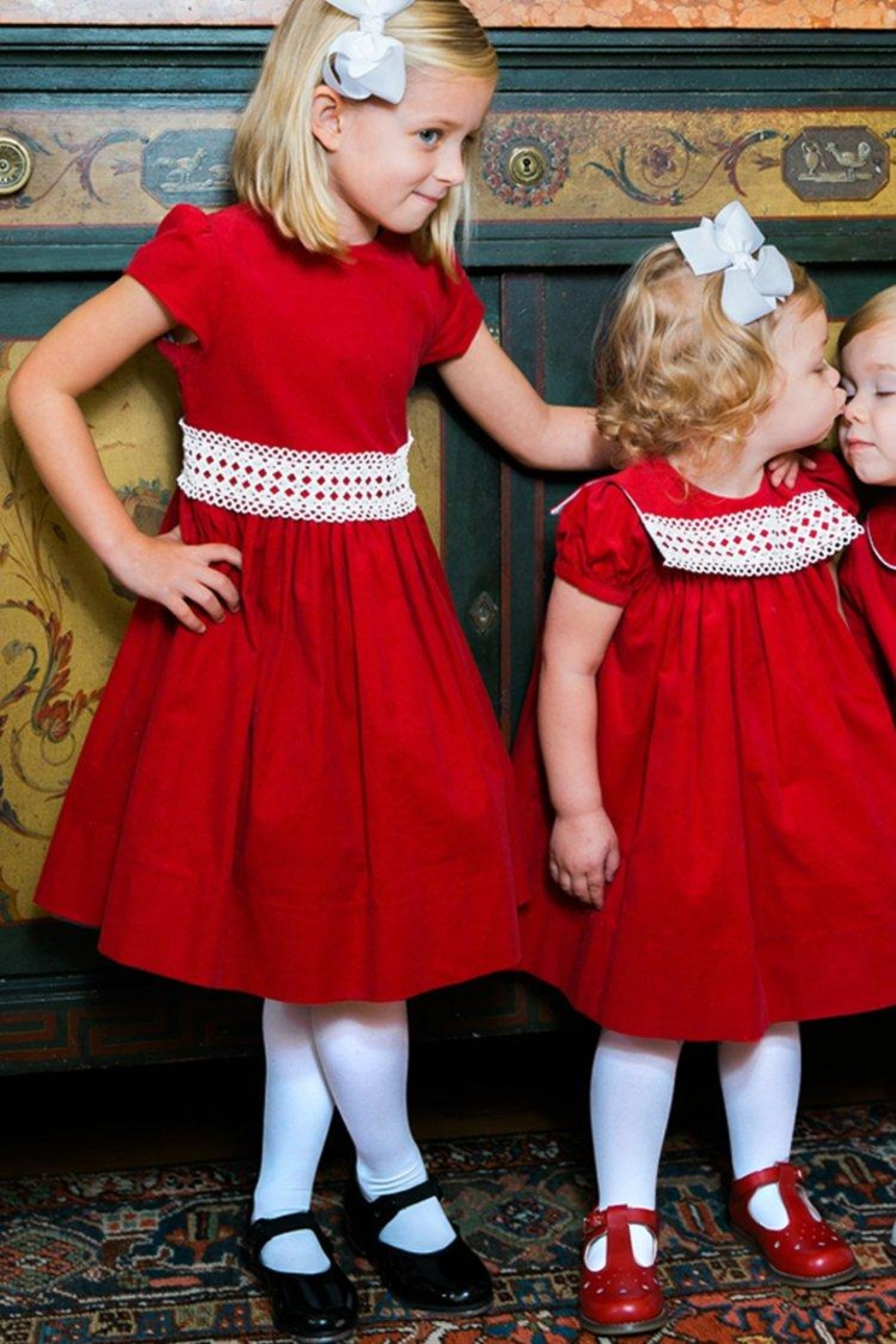 Bailey Boys Red Corduroy/lace Dress - Front Full Image
