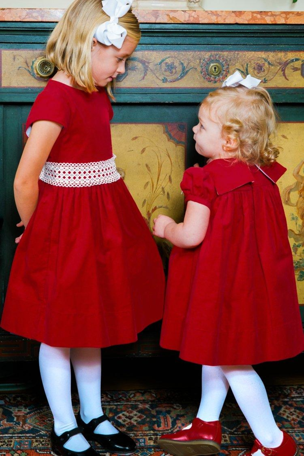 Bailey Boys Red Corduroy/lace Dress - Side Cropped Image